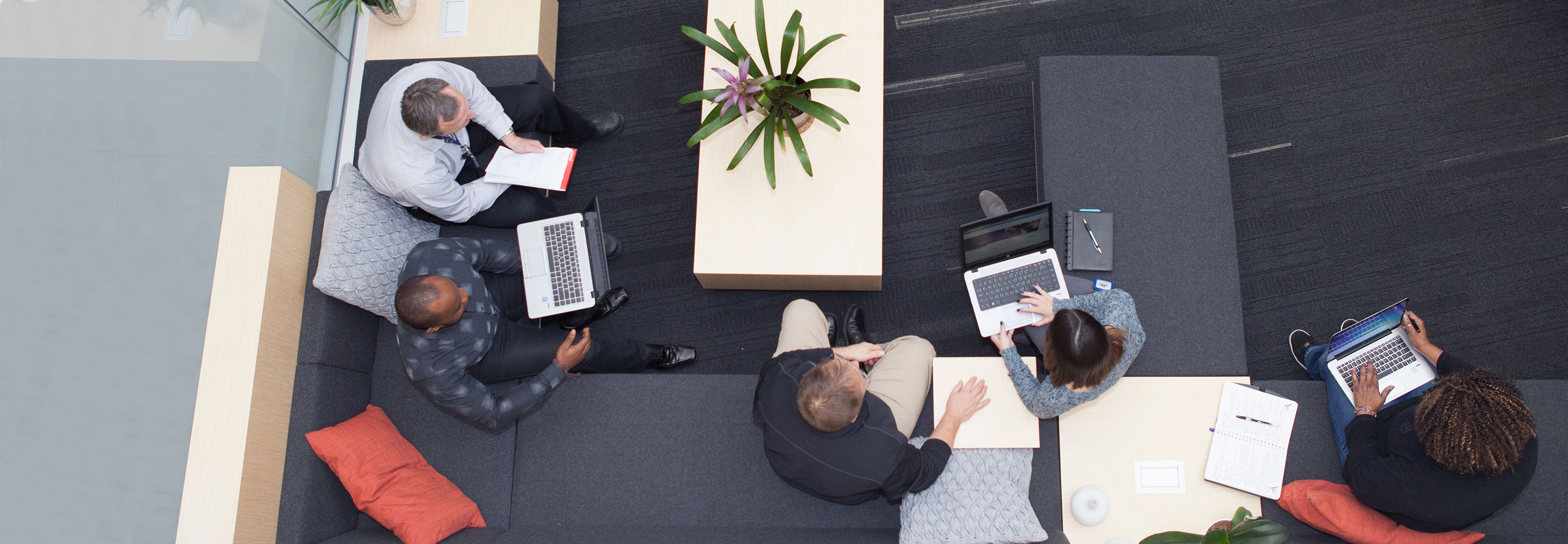 Team meeting in a modern workplace open office